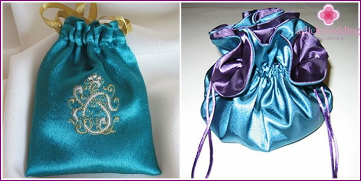 Silk and satin bags for candy boxes,