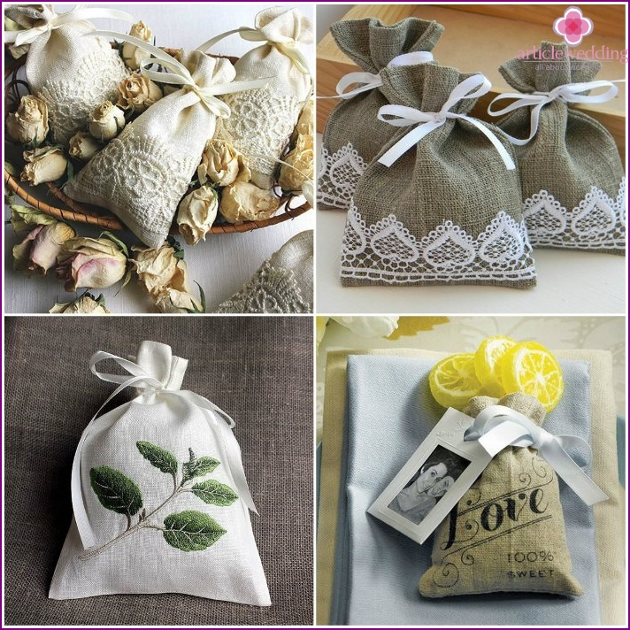 Linen bags, candy boxes for wedding
