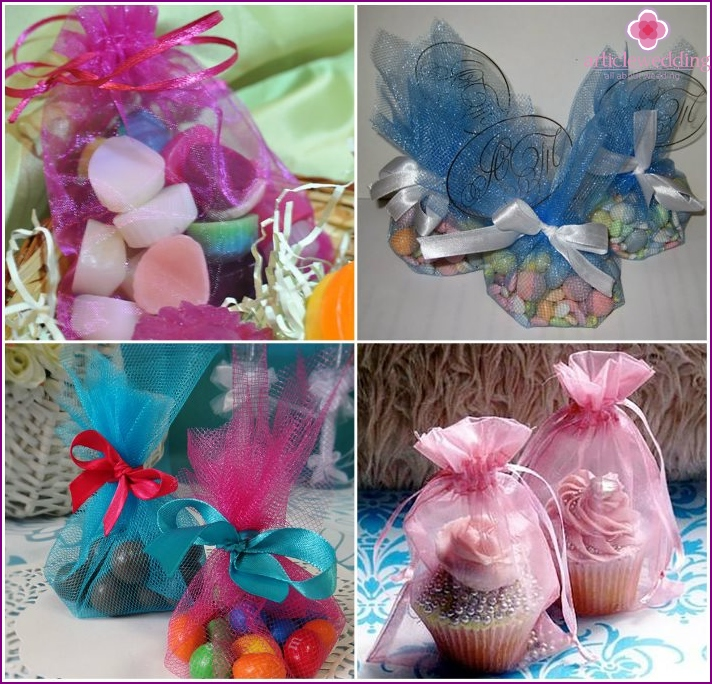 Options for filling bags, candy boxes for wedding