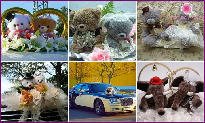Soft toys for decoration of wedding cars