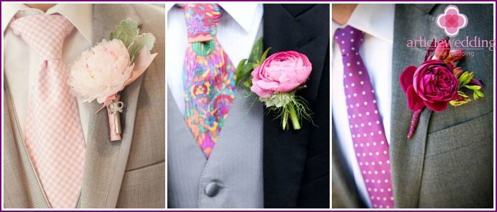 The combination of boutonniere and tie