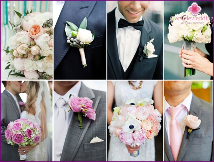 The combination of boutonnieres and wedding bouquet