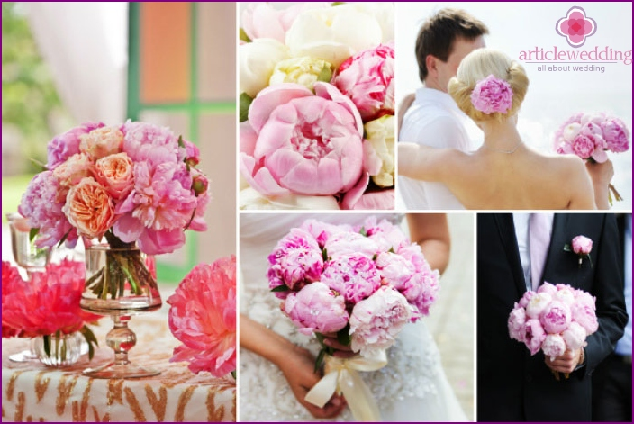 The combination of flower arrangement and wedding theme