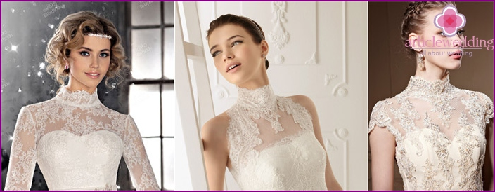 Stand-up collar in a wedding dress - self-sufficient decoration