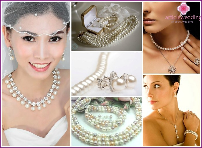 Pearl Jewelry for the bride to the wedding
