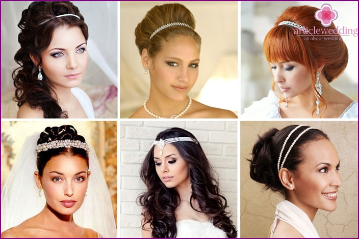 Hairstyles for a wedding with pearls for the bride