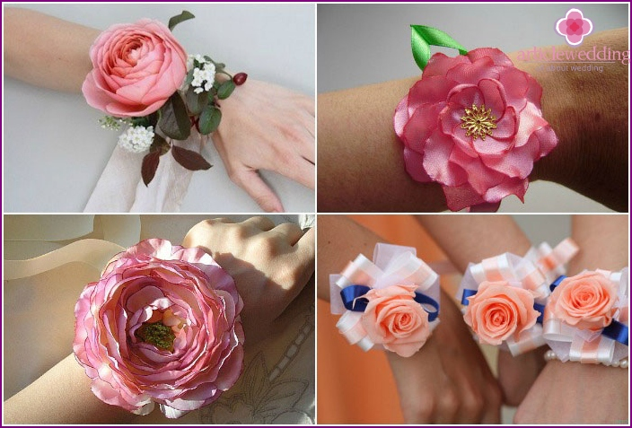 Making flowers bracelets bridal friends