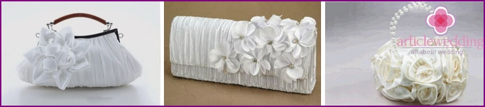 Clutches for wedding, decorated with flowers