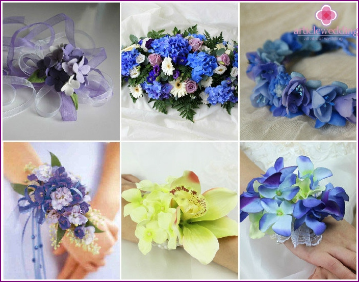 Hydrangeas in bouquets, bracelets for wedding