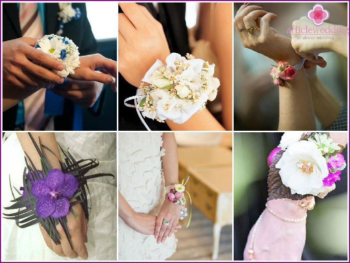 Flower bracelet on hand to witness