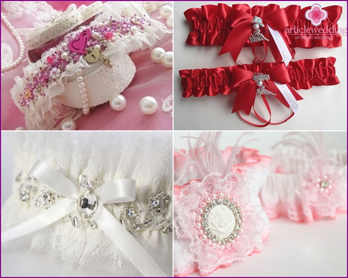 Brooches and stones in a festive garter