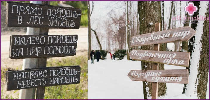 The original inscription on the signposts for the wedding