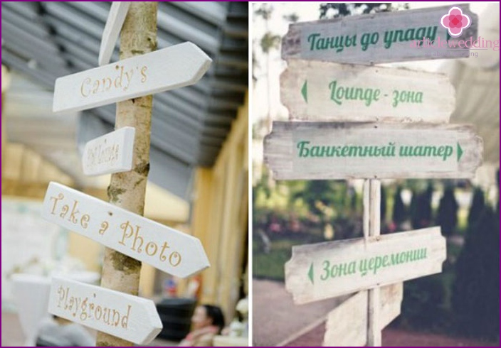 Ideas for original information signs for wedding