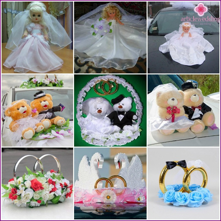 Rings and dolls on wedding car