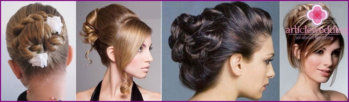 High hairstyles witness to the wedding