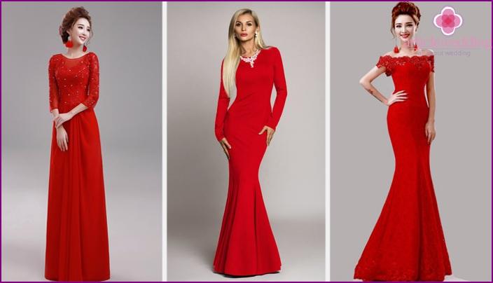 Платье красное для свидетельницы на свадьбу