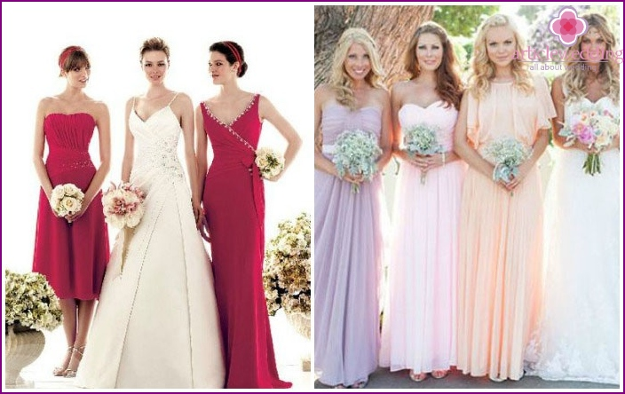 Dresses for bridesmaid red and pastel colors