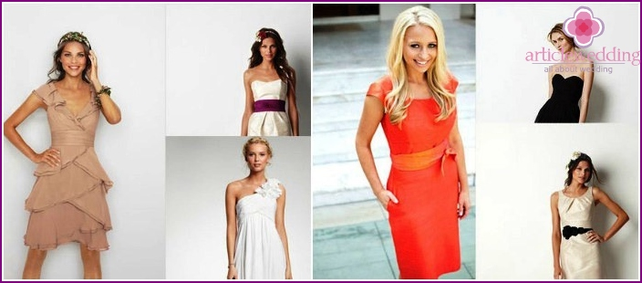 Dresses for the bridesmaid at the wedding