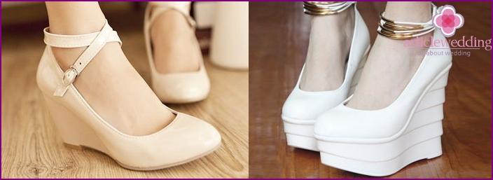 bride's shoes with high platform
