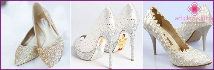 Closed wedding shoes for the bride
