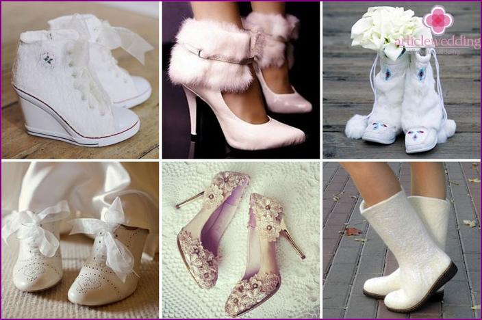A variety of women's wedding shoes for winter