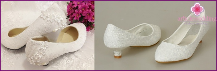 Wedding shoes on a small heel