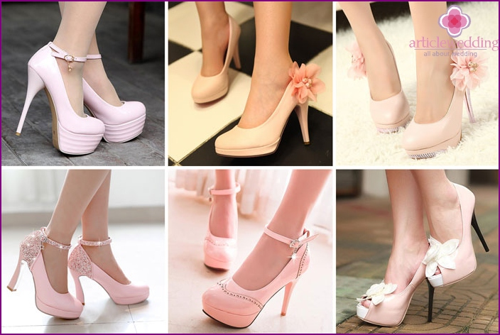 Pink shoes for the bride