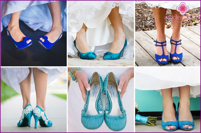 The image of the bride with blue slippers