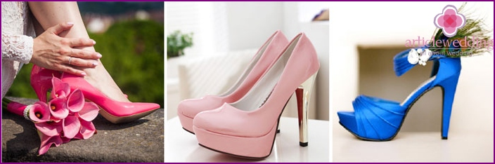 Original color models of shoes for wedding
