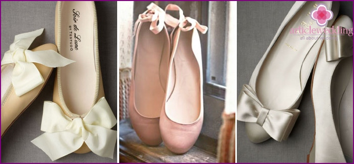 Ballet shoes with ribbons look elegant