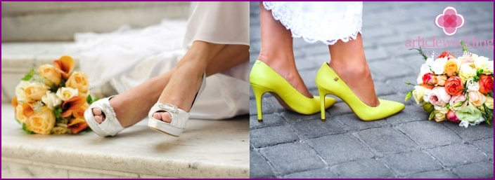 The new color scheme for the wedding shoes
