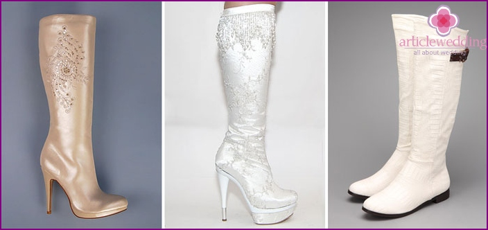 Models of wedding boots ivory color