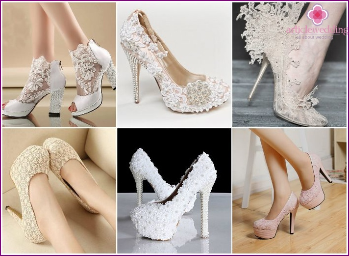 The lace on the wedding shoes