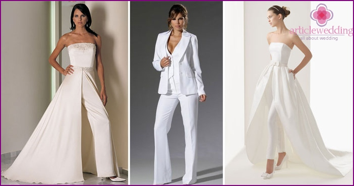 Female trouser suit for the bride