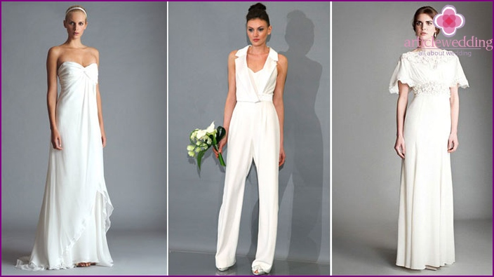Examples of alternative wedding dresses for brides