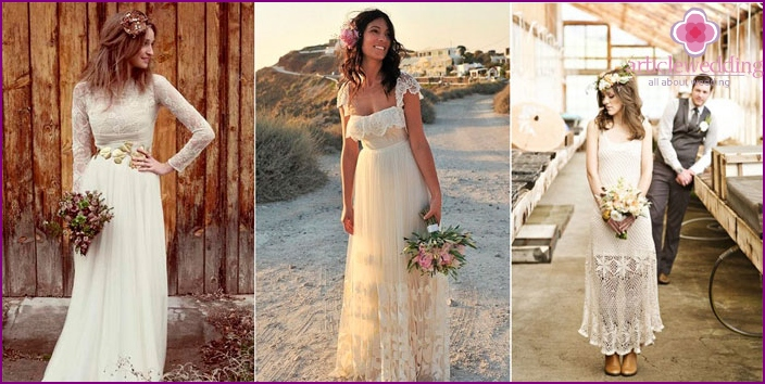 Wedding dress with a lace-style rustic