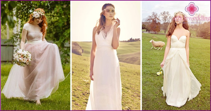 Variants of wedding dresses in the style of rustic