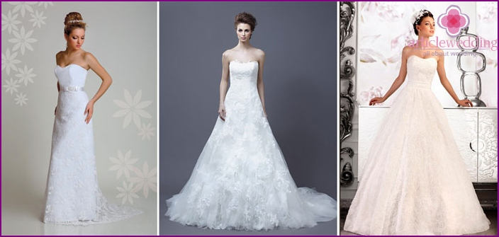 A-shaped silhouette openwork wedding dress