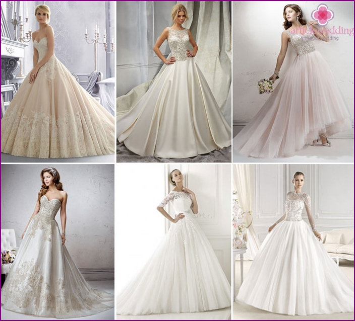 Ball wedding dresses with guipure top