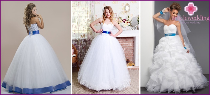 Elegant dresses for a wedding with a blue ribbon