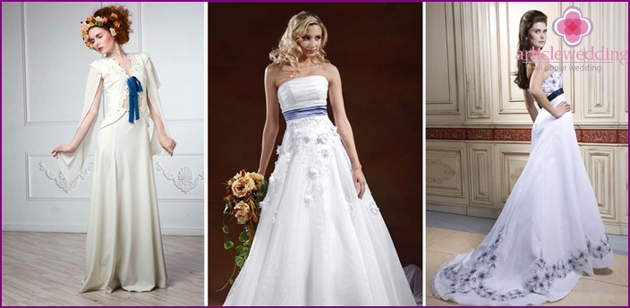 Beautiful model dresses with ribbon
