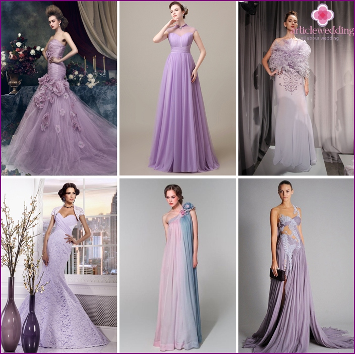 Gray-lilac model is suitable for any style of wedding