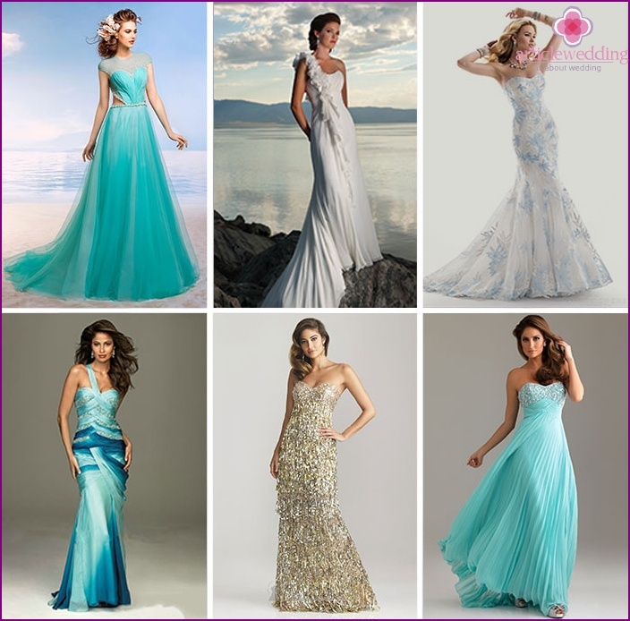 Wedding dresses in marine style