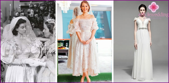 Dresses brides from different eras