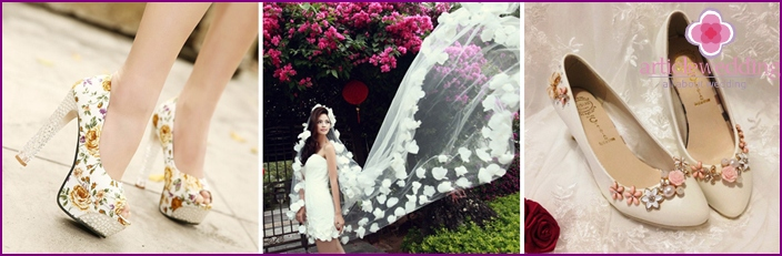 Shoes and bridal veil