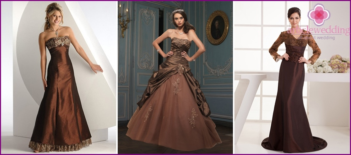 Wedding dresses chocolate hue