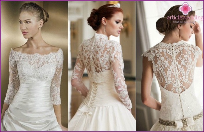 Lace sleeves of dresses for the ceremony