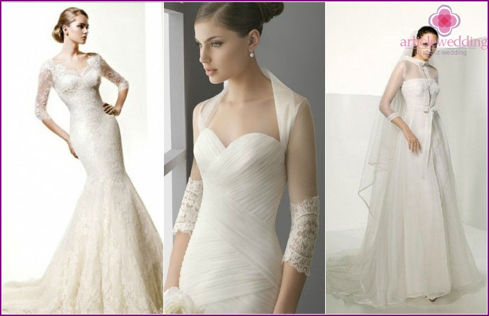 In the photo: Sleeve length wedding dress 3/4