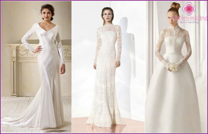 Model-fitting dresses with sleeves for the bride