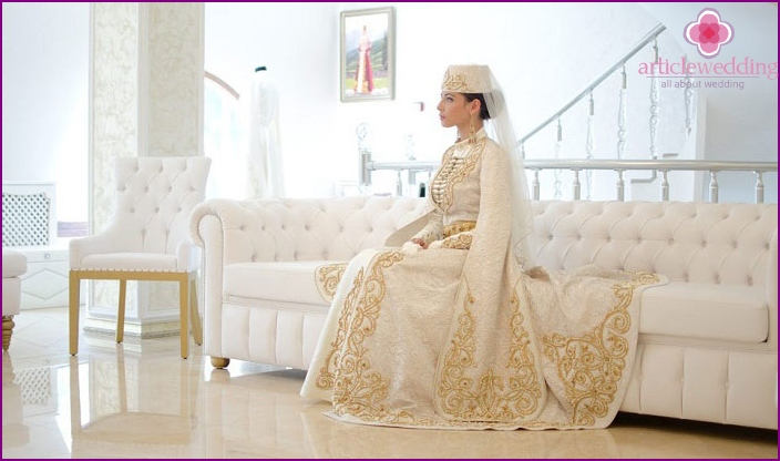 Gold embroidery Ossetian bride dress